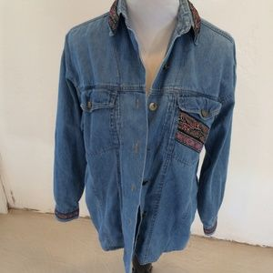 GET ! JEAN SHIRT WITH SPARKLY  BOHO DETAILS SIZE S